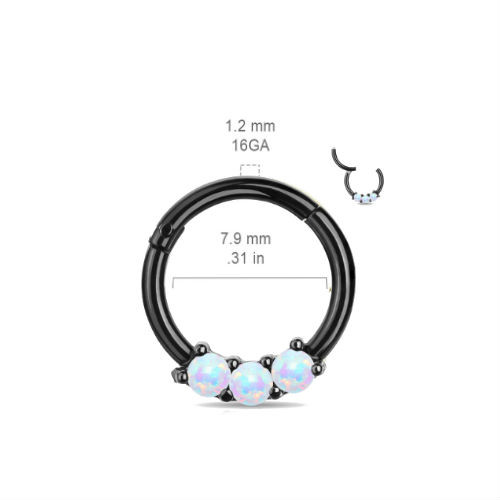 3 gem White Opal Black Titanium Anodized High Quality 16 gauge Precision Hinged Segment Ring