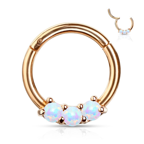 White Opal Rose Gold Titanium Anodized High Quality 16 gauge Precision Hinged Segment Ring