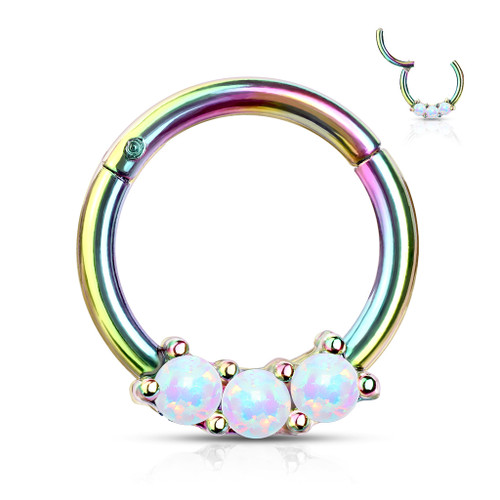 White Opal Rainbow Titanium Anodized High Quality 16 gauge Precision Hinged Segment Ring
