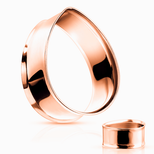 Rose Gold Stainless Steel Teardrop Double Flared Tunnels