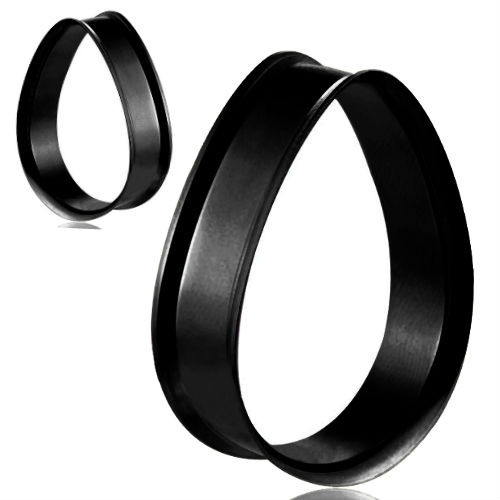 Black Stainless Steel Teardrop Double Flared Tunnels