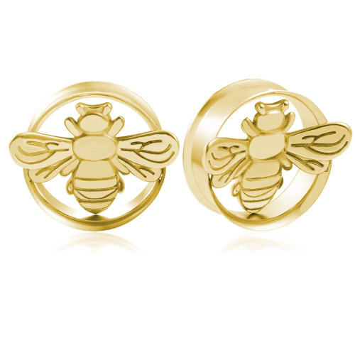 Gold Plated Stainless Steel Bee double saddle ear plugs