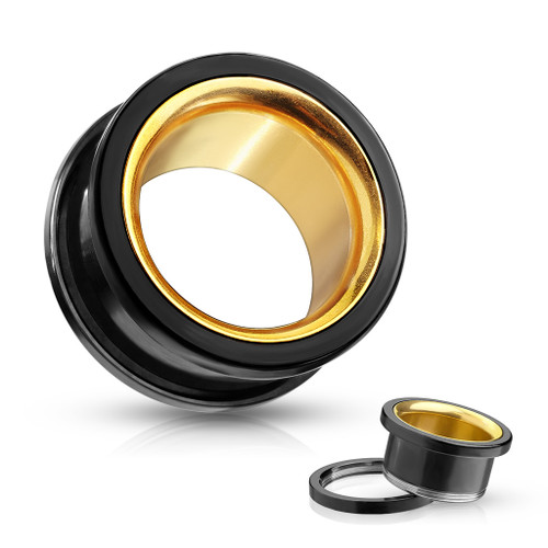 Black With Gold Interior 316L Surgical Steel Screw Fit Double Flared Tunnels