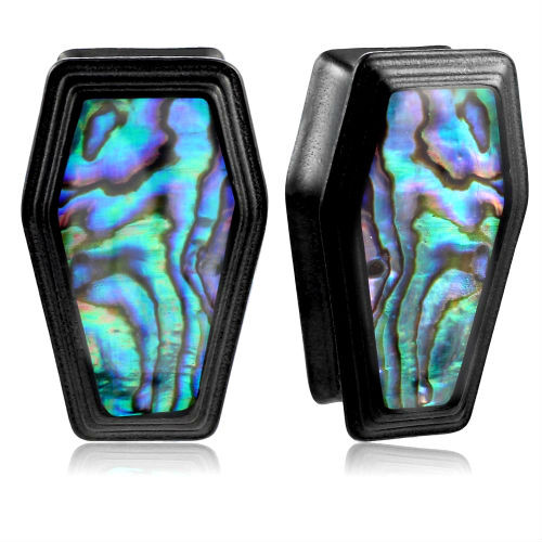 Double Saddle Coffin Shape Black Stainless Steel Abalone Inlaid Plugs