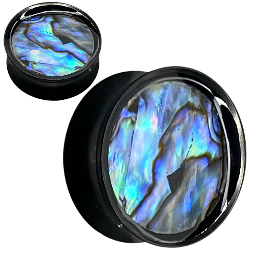 Round Black double saddle Stainless Steel Tear Drop Abalone Inlaid Plugs