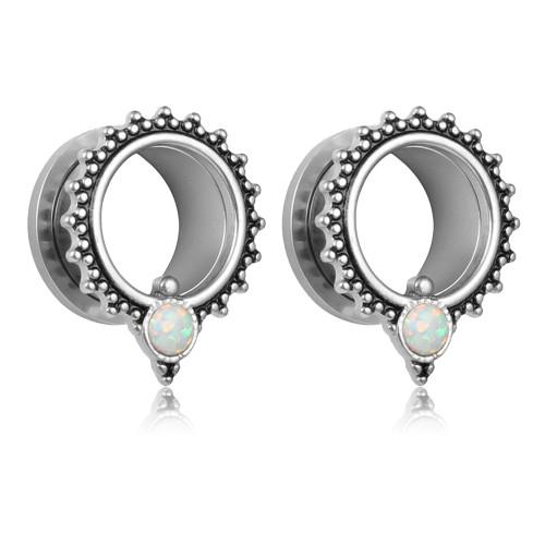 Silver color Opal dot screw back ear plugs