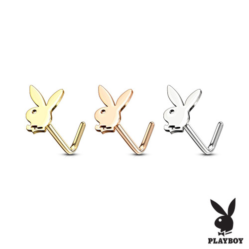 Playboy Bunny Top 316L Surgical Steel Nose L Bend Stud Rings