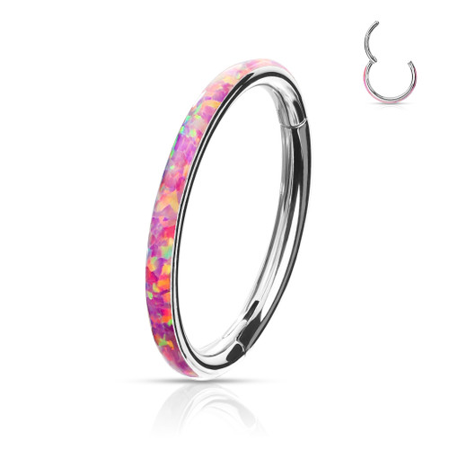 Pink Opal Rim High Quality Precision 316L Surgical Steel Hinged Segment Ring