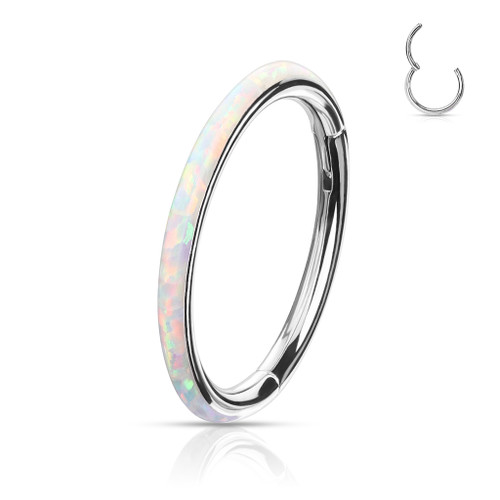 White Opal Rim High Quality Precision 316L Surgical Steel Hinged Segment Ring