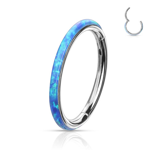 Blue Opal Rim High Quality Precision 316L Surgical Steel Hinged Segment Ring