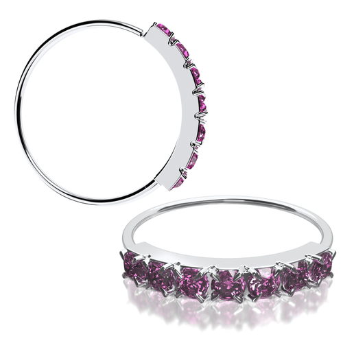 22 gauge 7 Pink Gem CZ Gem 925 Sterling Silver Nose Ring Continuous Seamless Hoop bendable