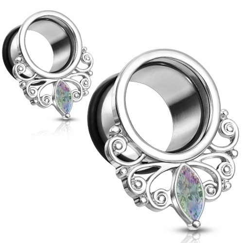 Rainbow Marquise Gem Steel  Renaissance Ear Tunnels Oring back
