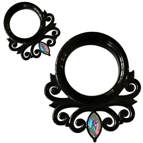Black Stainless Steel Rainbow Marquise Gem Renaissance Ear Tunnels Oring back