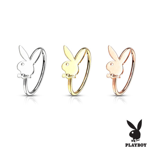 Bendable Hoop Playboy Bunny Top 316L Surgical Steel Nose ring