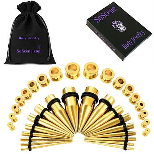 Screw Plug Gold Ear Stretching Kit 36 pieces tapers and plugs