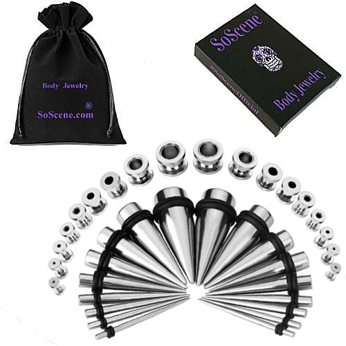 Screw Plug Surgical Steel Ear Stretching Kit 36 pieces tapers and plugs