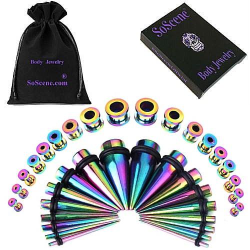 Rainbow Screw Titanium Ear Stretching Kit