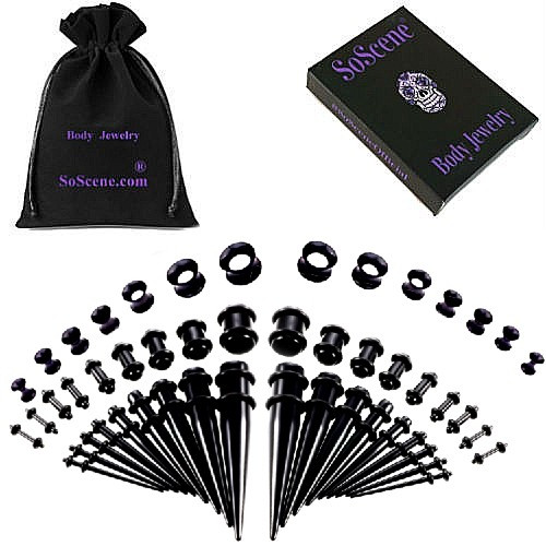 50 piece acrylic silicone Black Colored Acrylic tapers Ear Stretching Kit
