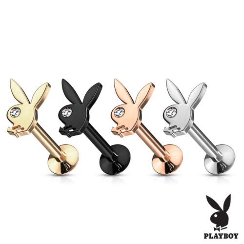 Playboy Bunny Top  16 gauge on Internally Threaded 316L Surgical Steel for Labret Monroe Cartilage