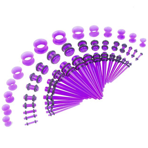 50 piece acrylic silicone purple  Acrylic tapers Ear Stretching Kit