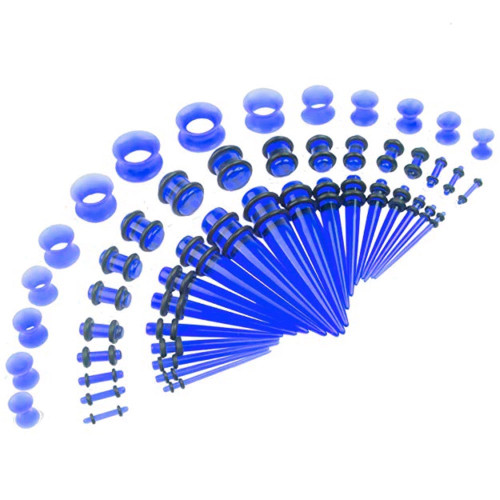 50 piece acrylic silicone blue Acrylic tapers Ear Stretching Kit