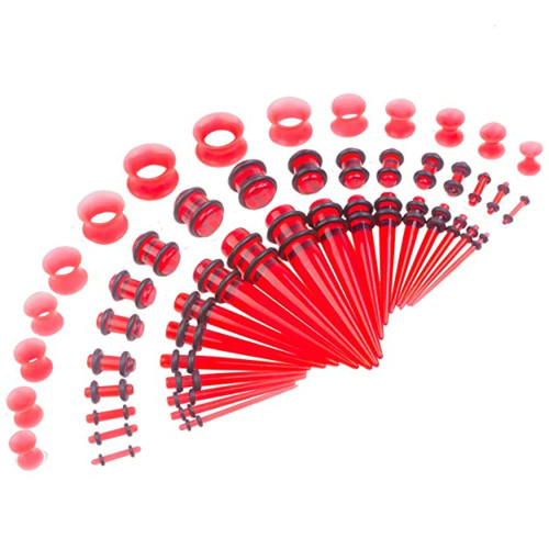 50 piece acrylic silicone red Acrylic tapers Ear Stretching Kit
