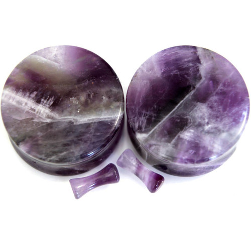 Organic Natural Amethyst Stone Ear Gauges