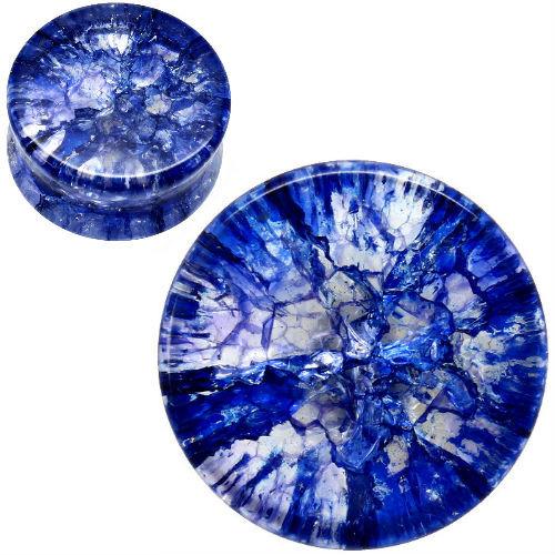 blue shattered quartz ear gauges . Organic stone ear plugs