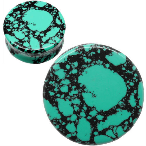 Teal and black howlite ear gauges