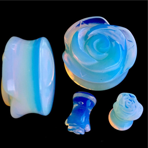 OPALITE ROSE SHAPED EAR GAUGES -EAR PLUGS