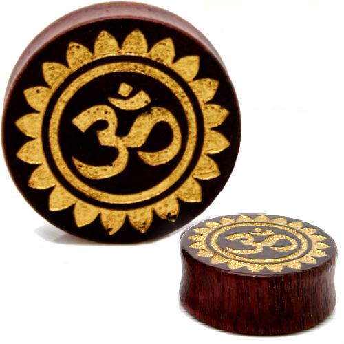 Hindu OM WOOD GOLD FOILED Ear Gauges