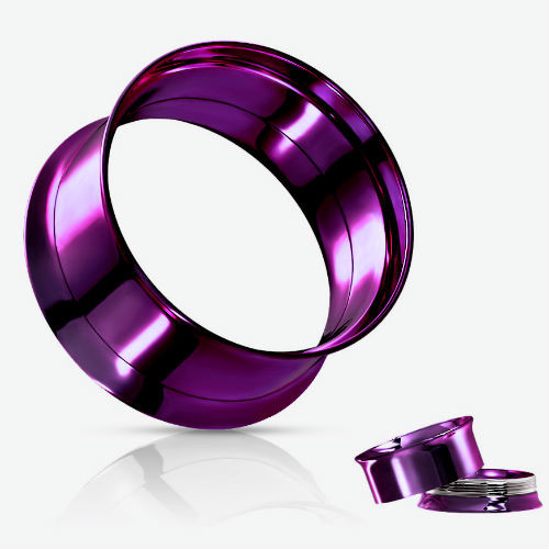 PURPLE INTERNAL THREAD STAINLESS STEEL EAR GAUGES