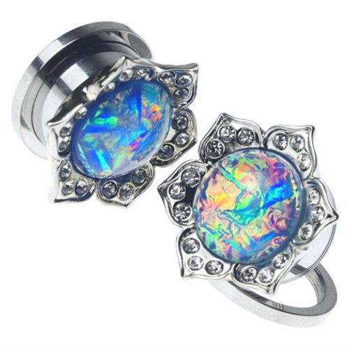 Stainless Steel Gems With Synthetic Blue Opal center  Screw Back  Ear Gauges (Pair)