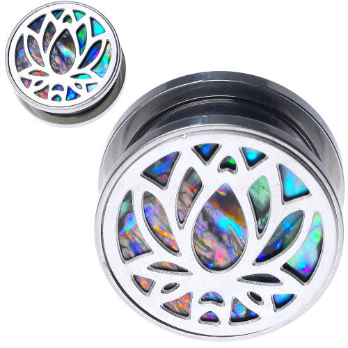 Stainless Steel lotus design with Abalone Shell Back Screw Back Ear Plugs- ear gauges