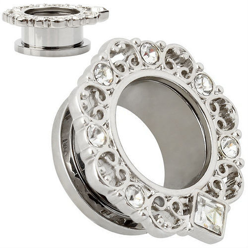 PAIR-Stainless Steel Silver Ornate  Tunnels Square Bottom CZ Gems-EAR GAUGES-EAR PLUGS