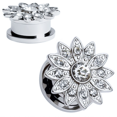 Solid Stainless Steel Flower Large Center Gem Screw Back  Ear Gauges (Pair)