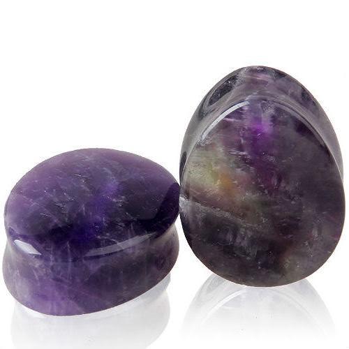 Teardrop Purple Natural Amethyst Stone Ear Plugs