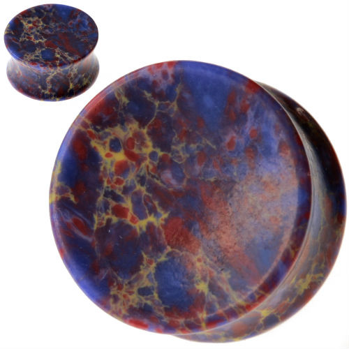 Concave Marbled Purple Agate Stone Ear plugs