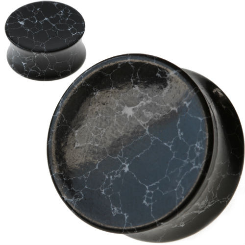 Concave Black Howlite Stone Ear plugs