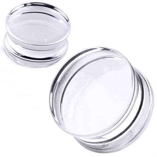 Solid Acrylic Clear Ear Plugs Double saddle