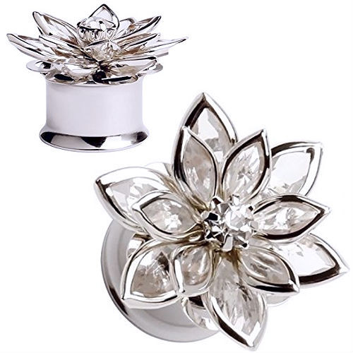 Clear Gem Flower Multi Petals Ear Gauges double saddle stainless steel