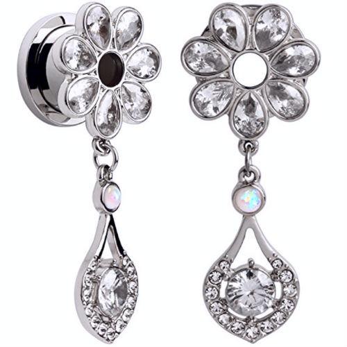 Clear Gem Flower Petal Ear Plug Tunnels  with Opal and  CZ gem Dangle