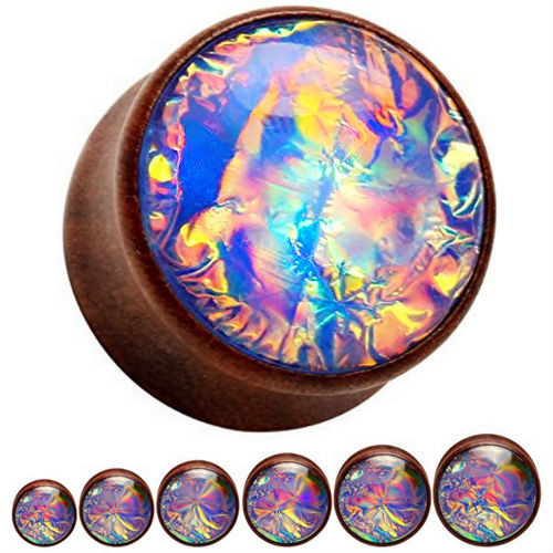 Wood with blue fire opal center double saddle ear plugs