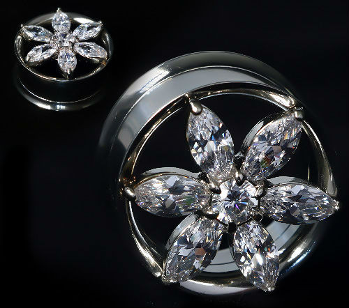 Front Rim Bling Flower gems Double saddle screw back Ear Plugs Stainless Steel