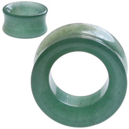 Hollow Green Jade  Tunnel Organic Stone Ear Gauges