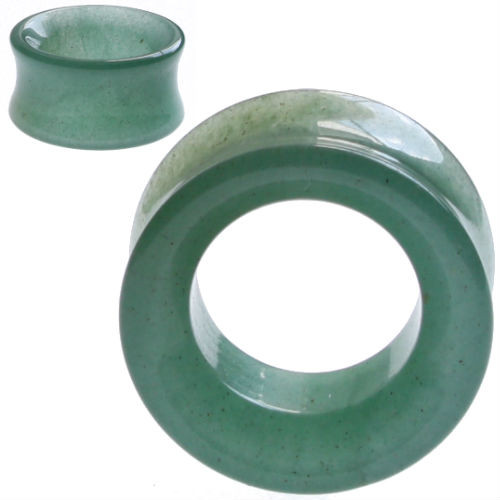 Hollow Green Jade  Tunnel Organic Stone Ear Gauges