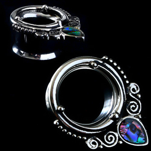 Ornate Swirl Oval  Abalone Stainless Steel Double saddle tunnels