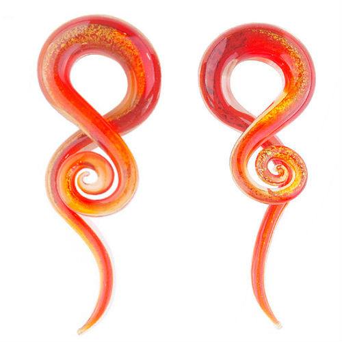 Dichroic Glass Fire burst ear spiral taper hangers