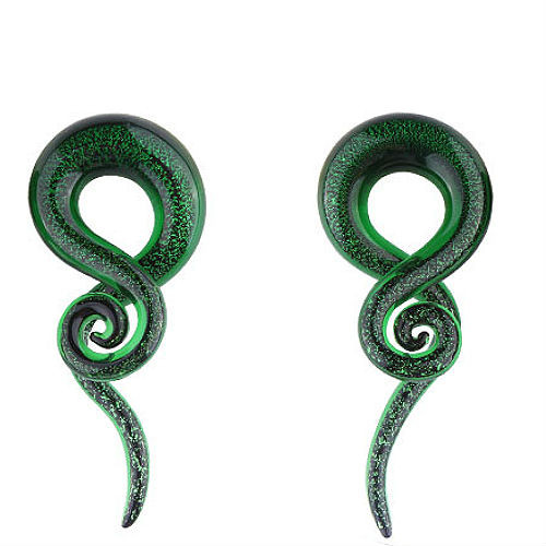 Dichroic Glass Green Sea ear spiral taper hangers