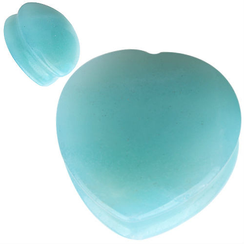 Heart shape Organic  Amazonite Natural  Stone Ear Gauges